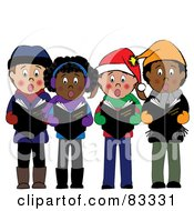 Royalty Free RF Clipart Illustration Of A Diverse Group Of Boys And Girls Standing And Singing Christmas Carols