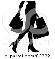 Royalty Free RF Clipart Illustration Of A Black Silhouette Of A Woman From The Waist Down Walking And Carrying Shopping Bags