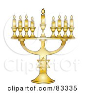 Golden Jewish Menorah With Nine Gold Lit Candles On A White Background