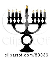 Black Jewish Menorah With Nine Lit Candles On A White Background