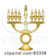 Royalty Free RF Clipart Illustration Of A Gold Jewish Menorah With Nine Gold Lit Candles On A White Background by Pams Clipart