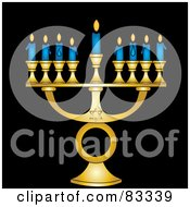Gold Jewish Menorah With Nine Blue Lit Candles On A Black Background