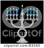 Silver Jewish Menorah With Nine Blue Lit Candles On A Black Background