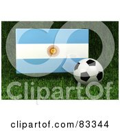Royalty Free RF Clipart Illustration Of A 3d Soccer Ball Resting In The Grass In Front Of A Reflective Argentina Flag