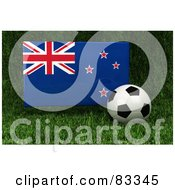 Royalty Free RF Clipart Illustration Of A 3d Soccer Ball Resting In The Grass In Front Of A Reflective New Zealand Flag