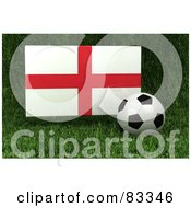Royalty Free RF Clipart Illustration Of A 3d Soccer Ball Resting In The Grass In Front Of A Reflective England Flag by stockillustrations
