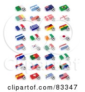Royalty Free RF Clipart Illustration Of A Digital Collage Of 3d Soccer Balls By Flags Of The World Cup 2010 Participating Countries by stockillustrations