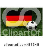 Royalty Free RF Clipart Illustration Of A 3d Soccer Ball Resting In The Grass In Front Of A Reflective Germany Flag