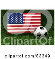 Royalty Free RF Clipart Illustration Of A 3d Soccer Ball Resting In The Grass In Front Of A Reflective USA Flag