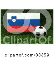 Royalty Free RF Clipart Illustration Of A 3d Soccer Ball Resting In The Grass In Front Of A Reflective Slovenia Flag