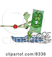 Clipart Picture Of A Dollar Bill Mascot Cartoon Character Waving While Water Skiing