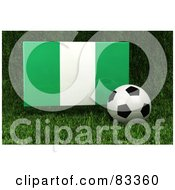 Royalty Free RF Clipart Illustration Of A 3d Soccer Ball Resting In The Grass In Front Of A Reflective Nigeria Flag