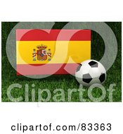 Royalty Free RF Clipart Illustration Of A 3d Soccer Ball Resting In The Grass In Front Of A Reflective Spain Flag