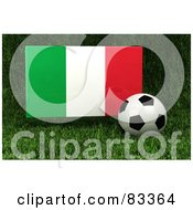 Royalty Free RF Clipart Illustration Of A 3d Soccer Ball Resting In The Grass In Front Of A Reflective Italy Flag