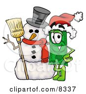 Clipart Picture Of A Dollar Bill Mascot Cartoon Character With A Snowman On Christmas