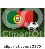 Royalty Free RF Clipart Illustration Of A 3d Soccer Ball Resting In The Grass In Front Of A Reflective Portugal Flag