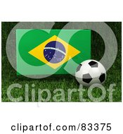 Royalty Free RF Clipart Illustration Of A 3d Soccer Ball Resting In The Grass In Front Of A Reflective Brazil Flag