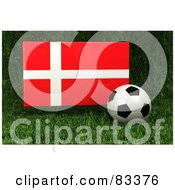 Royalty Free RF Clipart Illustration Of A 3d Soccer Ball Resting In The Grass In Front Of A Reflective Denmark Flag