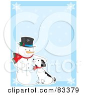 Blue Background With Snowflakes And A Snowman Petting A Puppy