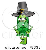 Clipart Picture Of A Dollar Bill Mascot Cartoon Character Wearing A Pilgrim Hat On Thanksgiving