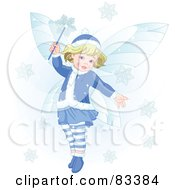 Royalty Free RF Clipart Illustration Of An Adorable Blond Christmas Fairy Making Snowflakes Fall by Pushkin