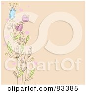 Royalty Free RF Clipart Illustration Of A Beige Background With A Left Border Of Flowers And Hearts
