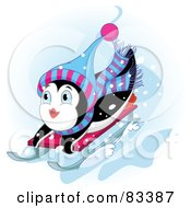 Royalty Free RF Clipart Illustration Of A Cute Penguin Looking Up While Sledding Down A Hill In The Snow