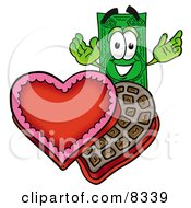 Dollar Bill Mascot Cartoon Character With An Open Box Of Valentines Day Chocolate Candies by Toons4Biz