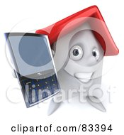 Royalty Free RF Clipart Illustration Of A 3d White Clay Home Character Holding Out A Cell Phone by Julos