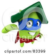 Royalty Free RF Clipart Illustration Of A 3d Green Clay Home Character Super Hero Flying Forward by Julos