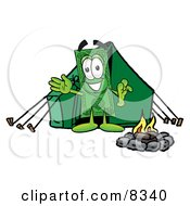 Clipart Picture Of A Dollar Bill Mascot Cartoon Character Camping With A Tent And Fire
