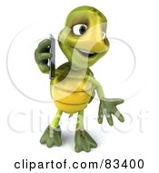 Royalty Free RF Clipart Illustration Of A 3d Chuck Tortoise Talking On A Cell Phone