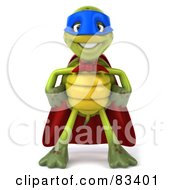 Royalty Free RF Clipart Illustration Of A 3d Chuck Tortoise Super Hero Standing And Facing Front