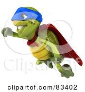 Royalty Free RF Clipart Illustration Of A 3d Chuck Tortoise Super Hero Flying