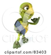 Royalty Free RF Clipart Illustration Of A 3d Chuck Tortoise Holding A Cell Phone And Gesturing Call Me
