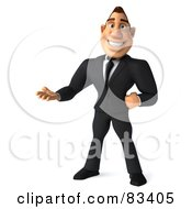 Royalty Free RF Clipart Illustration Of A 3d Macho Businessman Standing And Gesturing