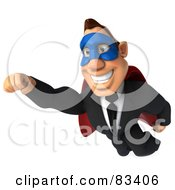 Royalty Free RF Clipart Illustration Of A 3d Macho Businessman Superhero In Flight