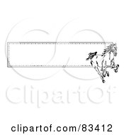 Royalty Free RF Clipart Illustration Of A Running Wild Black And White Horse Over A Website Banner With A Border Of Stitching