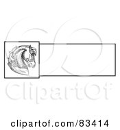 Royalty Free RF Clipart Illustration Of A Pen And Ink Drawing Of A Majestic Horse Head Profile Over A Blank White Text Box