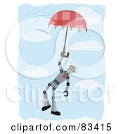 Royalty Free RF Clipart Illustration Of A Robot Floating Down And Holding Onto An Umbrella In A Blue Cloudy Sky