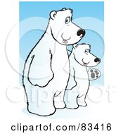 Two White Polar Bears Standing On Their Hind Legs