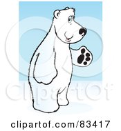 Friendly White Polar Bear Standing On His Hind Legs