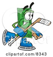 Clipart Picture Of A Dollar Bill Mascot Cartoon Character Playing Ice Hockey