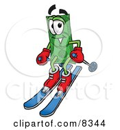 Clipart Picture Of A Dollar Bill Mascot Cartoon Character Skiing Downhill