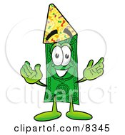 Clipart Picture Of A Dollar Bill Mascot Cartoon Character Wearing A Birthday Party Hat