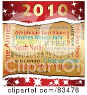 Royalty Free RF Clipart Illustration Of A Gold And Red 2010 Happy New Year Background With Different Languages by MacX