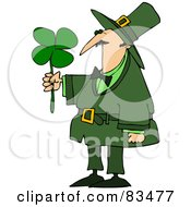 Royalty Free RF Clipart Illustration Of A Leprechaun Guy Admiring A Four Leaf Clover by Dennis Cox