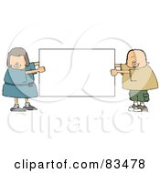 Royalty Free RF Clipart Illustration Of A Chubby Boy And Girl Holding A Blank White Sign