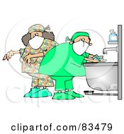 Royalty Free RF Clipart Illustration Of Male And Female Surgeons Washing Their Hands And Preparing For A Procedure by Dennis Cox