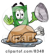 Dollar Bill Mascot Cartoon Character Serving A Thanksgiving Turkey On A Platter by Toons4Biz